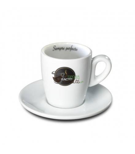 Taza + Plato Stracto blanca - Café cortado - 1 unidad