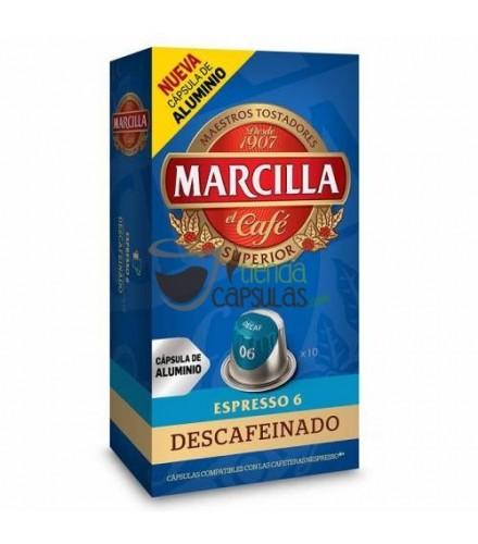 Cápsulas Nespresso®* Marcilla - 6 Descafeinado - 10 unidades