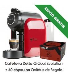 Cafetera Delta® Q Qool Evolution + 40 cápsulas Qalidus de Regalo (Envío Gratis)